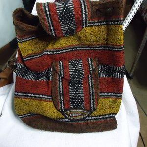 Handbags - Mexican Blanket Boho Colorful Baja Woven Backpack